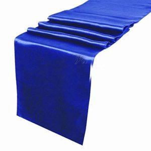 Royal blue taffeta table runner