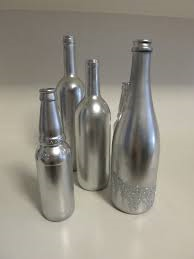 Silver spray-painted wine bottles