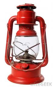Red or blue paraffin or oil lamp