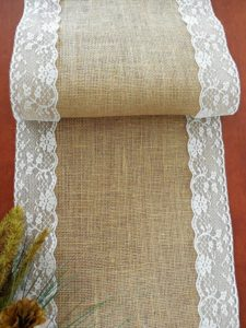 Hessian runner with lace