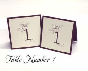 Table number on white paper