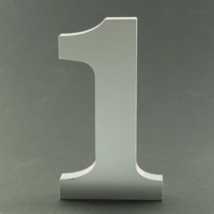 Silver table numbers 11 cm on stand