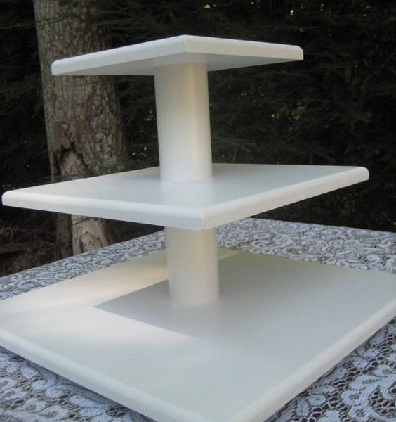White Square Wood Cup Cake Stand 3 Tier Hugo Party Hire