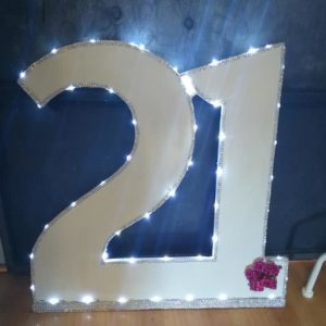21st sign with lights