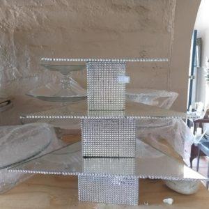 3 tier mirror triangular cupcake stand